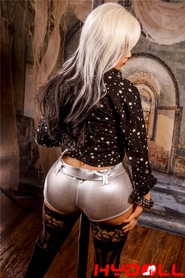 Silver-haired plump sex doll