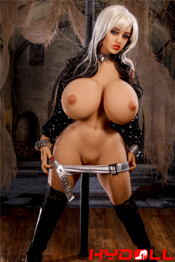 White-haired busty sex doll